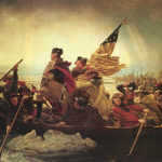 """Washington Crossing the Delaware"" Painting (oil on canvas) by Emanuel Leutze (1816–1868) Depiction of Washington's attack on the Hessians at Trenton on December 25, 1776, Current location: Metropolitan Museum of Art (New York, NY)"