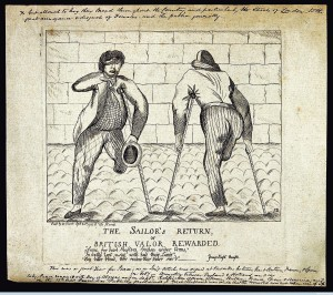 Two sailors with amputated legs, an eyepatch and an amputate Credit: Wellcome Library, London. Wellcome Images images@wellcome.ac.uk https://wellcomeimages.org Two sailors with amputated legs, an eyepatch and an amputated arm moving with the aid of crutches. Etching by S.B., 1783. 1783 By: S. B.after: Edward YoungPublished: 20 September 1783 Copyrighted work available under Creative Commons Attribution only licence CC BY 4.0 https://creativecommons.org/licenses/by/4.0/