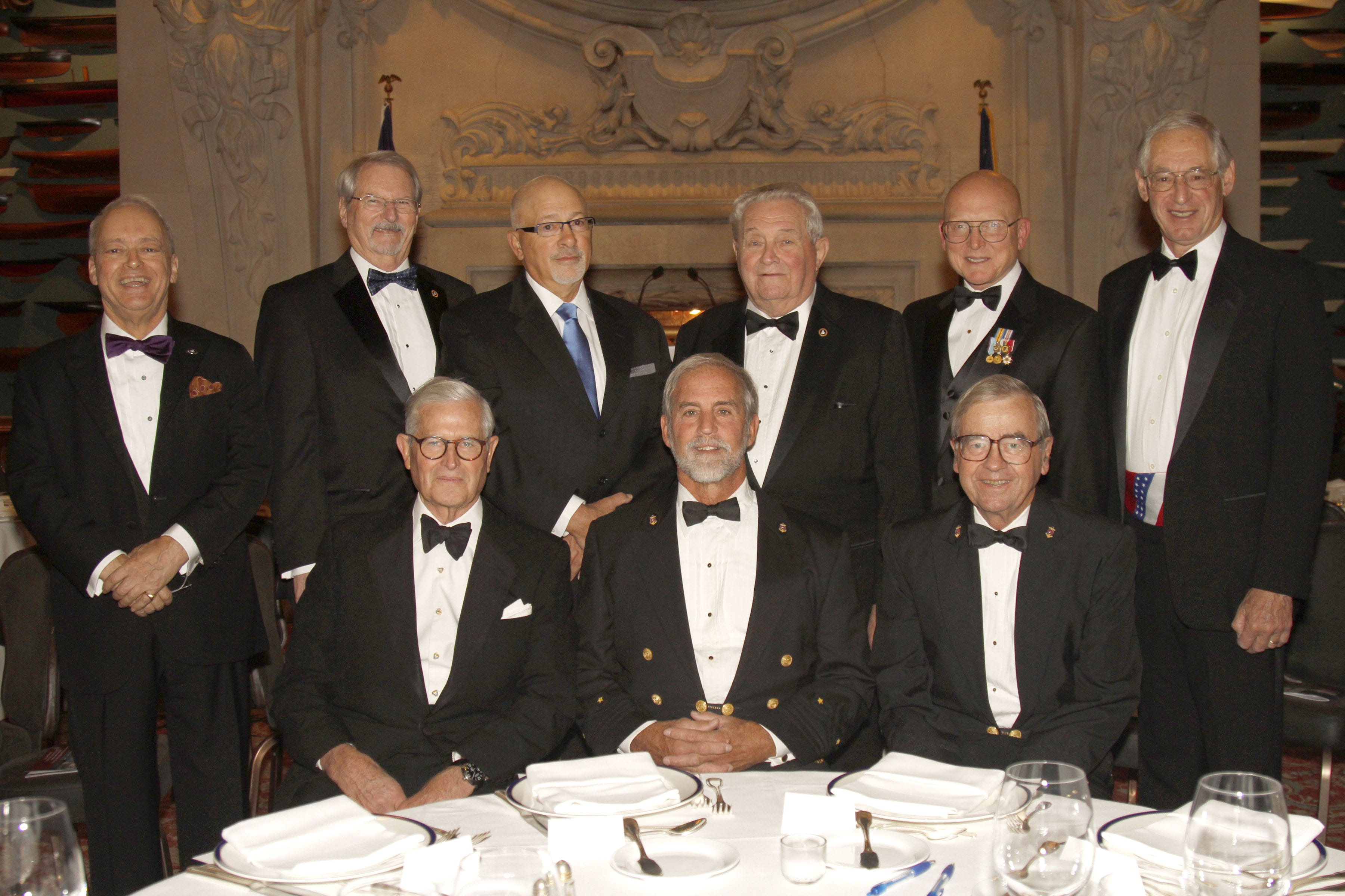 Photo by Allison Lucas.  (Front Row, l-r) James J. Coleman Jr., Rives Potts, George W. Carmany III.   (Back Row, l-r) Clay Maitland, Ronald L. Oswald, Daniel J. Basta, Howard Slotnick, Admiral Robert J. Papp Jr., USCG (Ret.), and Richard du Moulin.