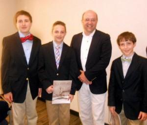 Bryson Bayne, Jordan Jakubielski,  and Aaron Tackett, with judge Salvatore Mercogliano
