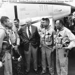 President Eisenhower with pilots on board USS Saratoga, June 1957. Naval History & Heritage Command Archives.