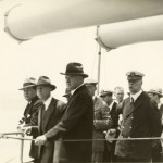 President Herbert Hoover along with Secretary of Navy Adams and Admiral Hughes aboard the Arizona (BB-39), March 1931.