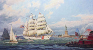 New York Harbor and OpSail salute America's tall ship Eagle by William G. Muller