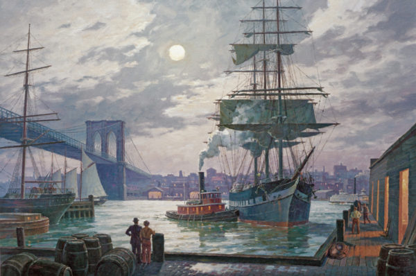 Nightdocking, East River, NY 1895 by William G. Muller