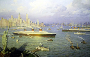NY Harbor During the height of the great steamship era, 1935 by William G. Muller