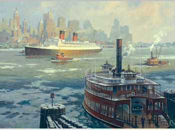 "Holiday Cards ""The French Liner Ile de France Arriving in New York Harbor, 1955"" by William G. Muller"