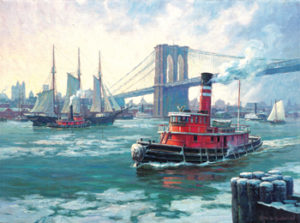 "Note Cards ""East River Traffic, 1900"" by William G. Muller"