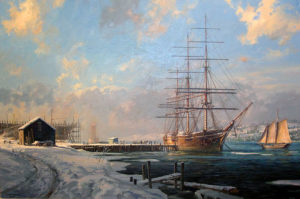"""Note Cards """"Shipbuilding along the Kennebec River, Maine"""" by Geoff Hunt"""