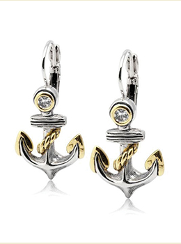 Seaside Anchor Fishwire Earrings