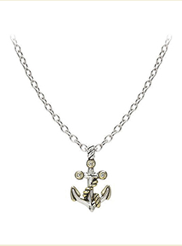 Seaside Two-Tone Anchor Slider with Chain