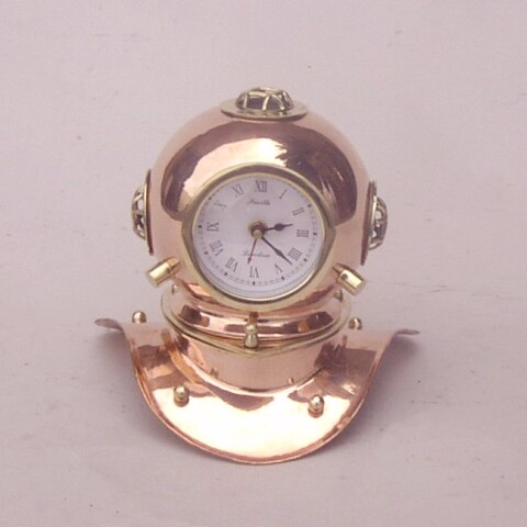 Copper and Brass Diver's Helmet Clock
