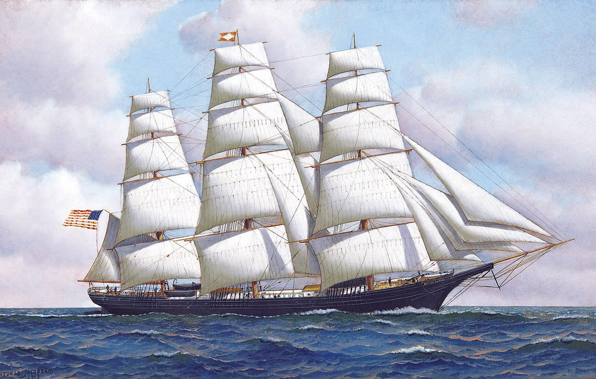 Antonio Jacobsen The American Clipper Ship Flying Cloud At Sea Under Full Sail