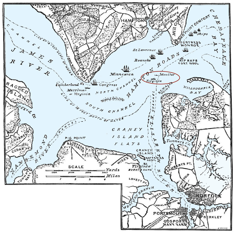 Battle Of Hampton Roads Map