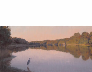 painting of heron in water