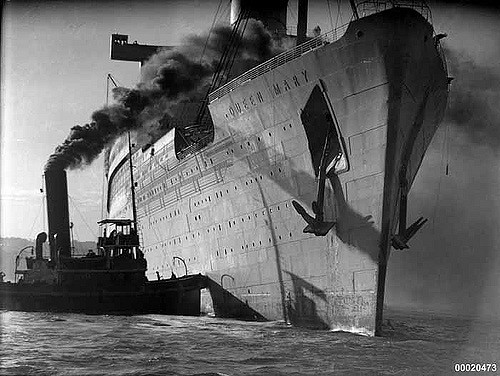 HM Troopship Queen Mary In Sydney Harbour, May 1940