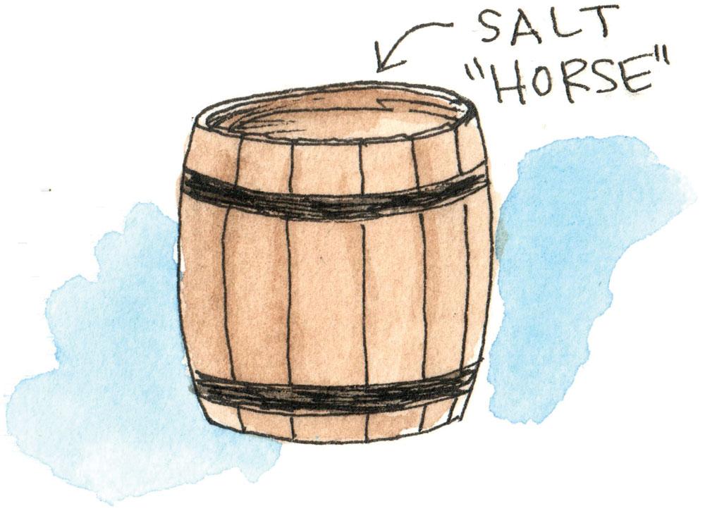 Richard King's illustration of a barrel of salted beef