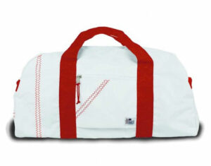 White and red duffel
