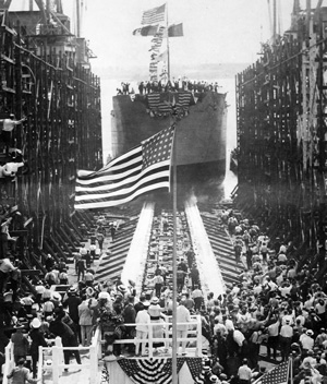 Launching The Quistconck First Completed At Hog Island Shipyards. The President And Mrs. Wilson Are Standing On The Pla NARA