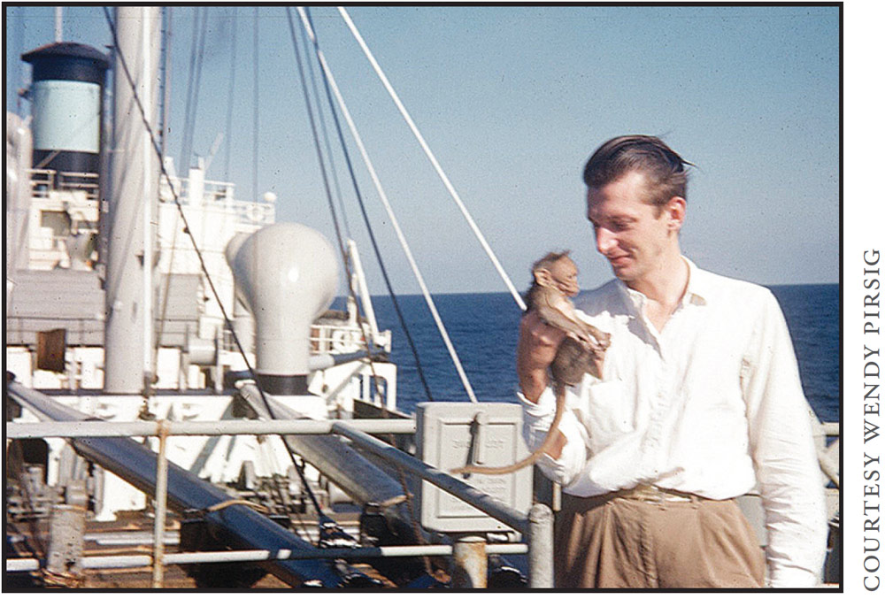 Aboard a vessel holding a monkey