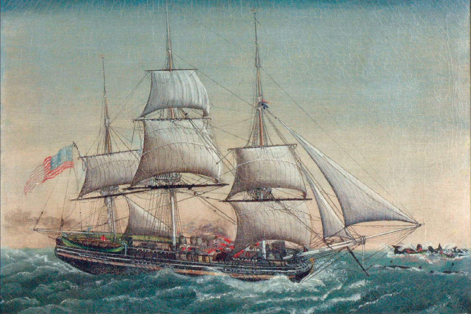 """Ship Spermo Trying With Boats Among Whales On California 1821,"" by J. Fisher, ca. 1823."