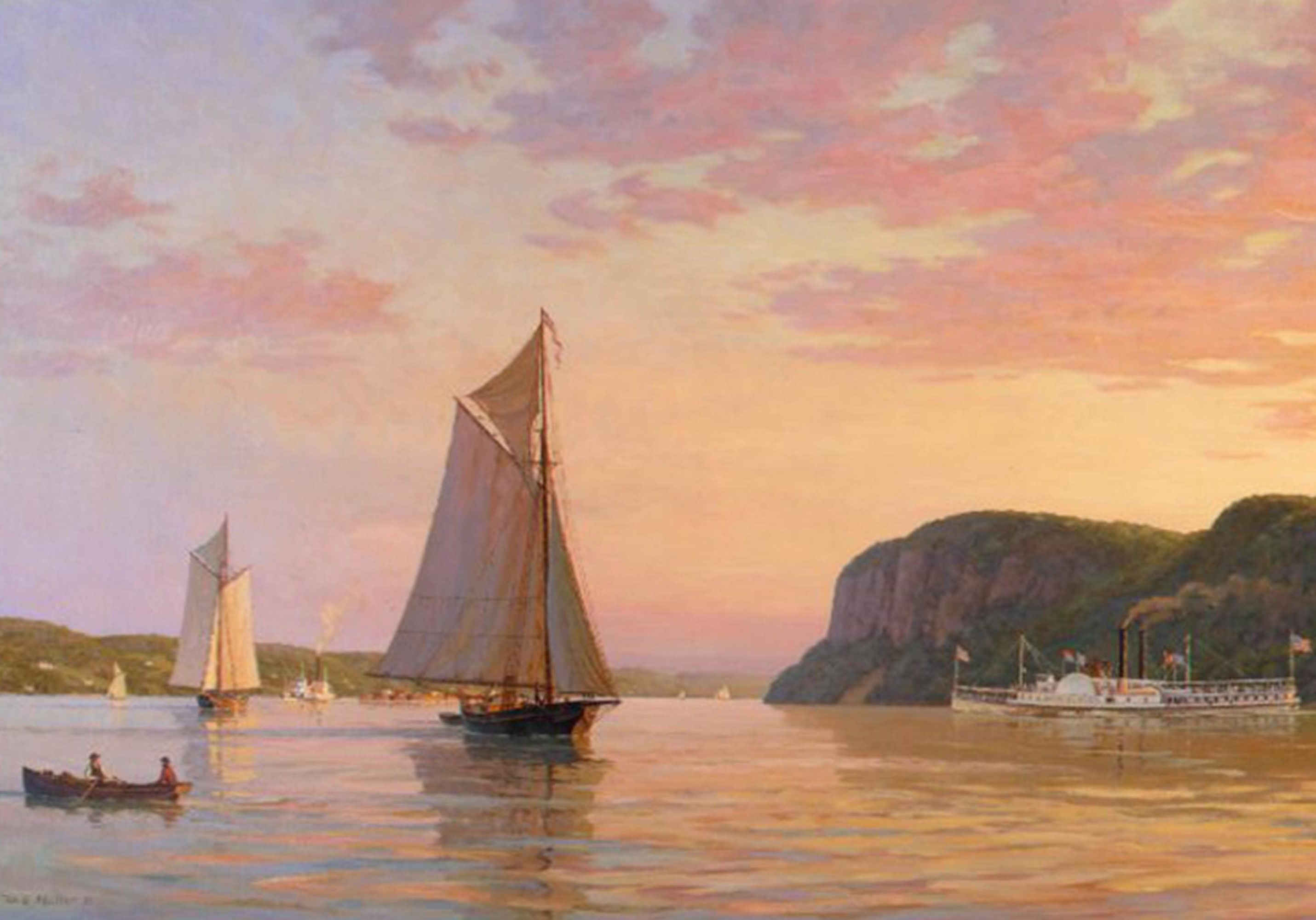 Evening On The Hudson,1862 By William G. Muller Post