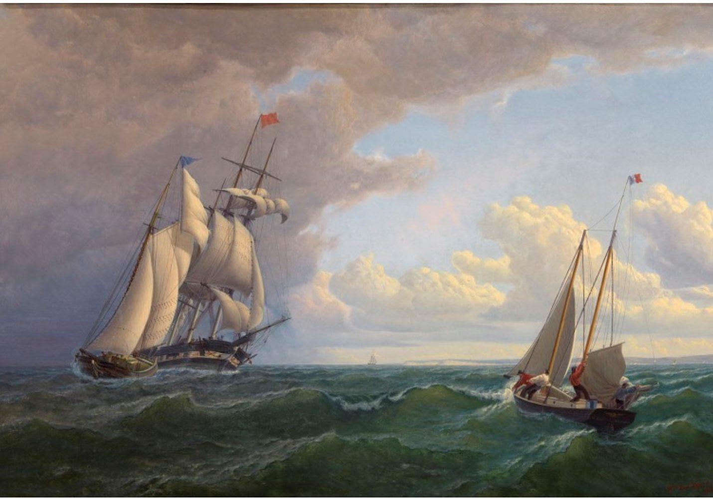 Whaler Off The Vineyard Outward Bound By William Bradford, 1859