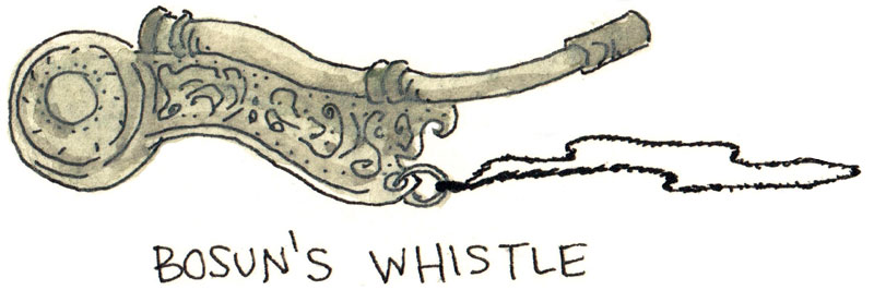 Bosun Bird Spike Whistle drawing
